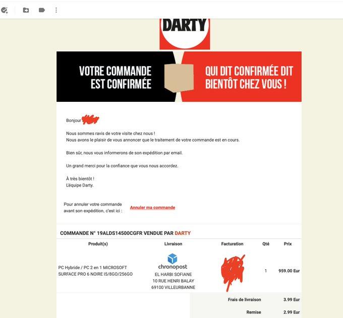 « Annuler la commande » de 900€ : une campagne de phishing massive cible les clients Darty