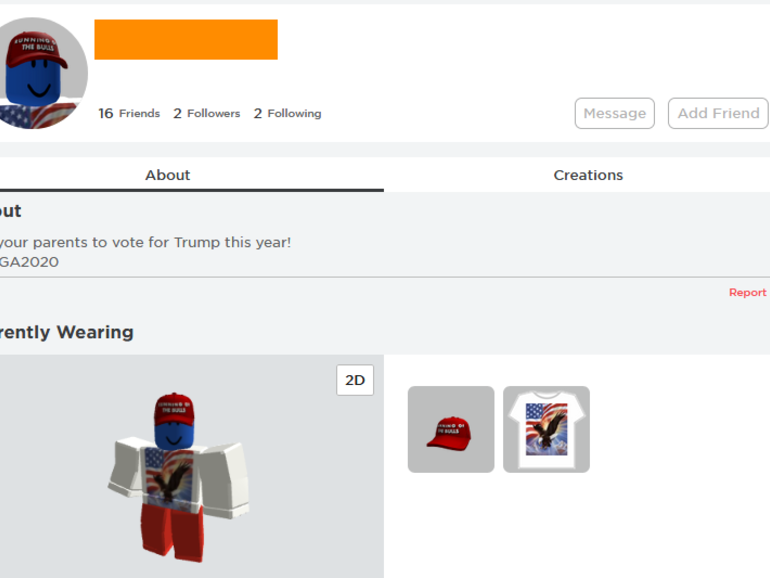 Roblox accounts hacked with pro-Trump messages