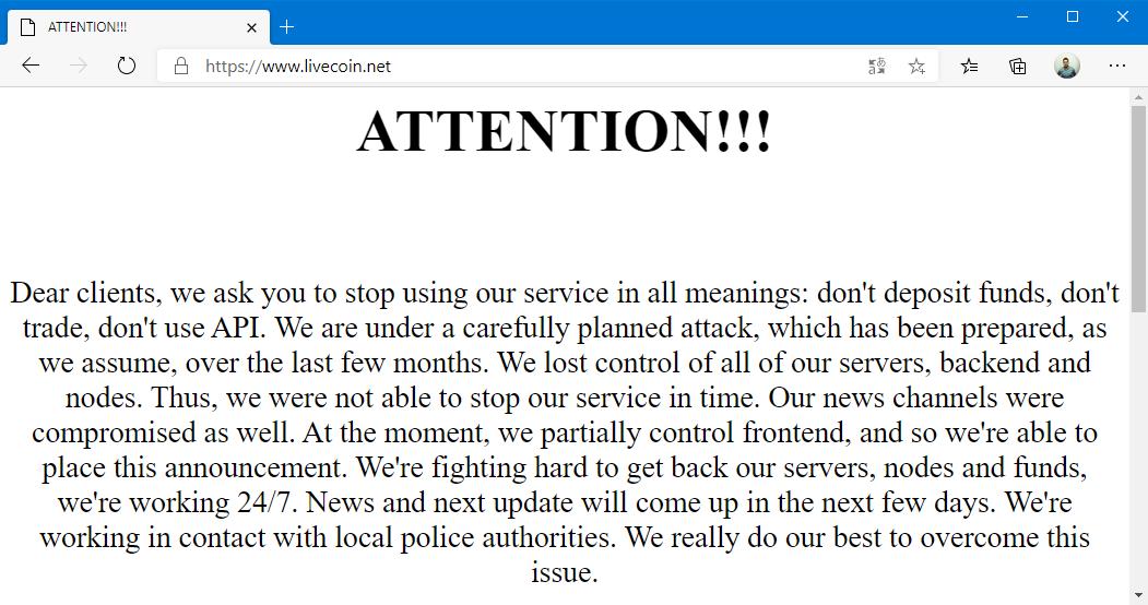 La plateforme Livecoin a été piratée et a perdu le contrôle de ses serveurs